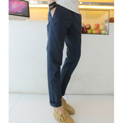 Гаджет   Slimming Trendy Solid Color Button Fly Straight Leg Cotton Nine Minutes of Pants For Men Pants