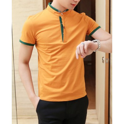 Купить T-Shirts   Fashionable Style Turn-down Collar Purfled Short Sleeves Cotton Polo Shirt For Men