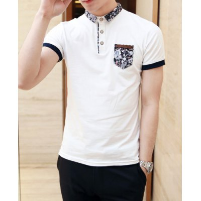 Гаджет   Casual Style Turn-down Collar Purfled Pocket Embellished Short Sleeves Cotton Polo Shirt For Men T-Shirts