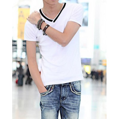 Гаджет   Casual Style V-Neck Slimming Simple Design Short Sleeves Cotton T-shirt For Men T-Shirts