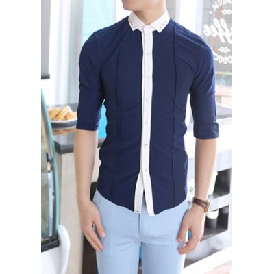 Гаджет   Stylish Shirt Collar Slimming Buttons Design Color Splicing Three-Quarter Sleeve Men