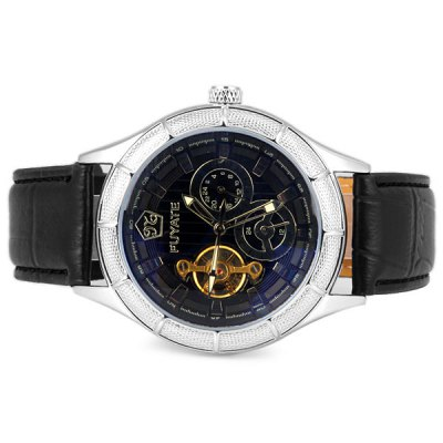 ФОТО Fuyate Unique Waterproof Men Mechanical Watch with Analog Round Dial Leather Watchband