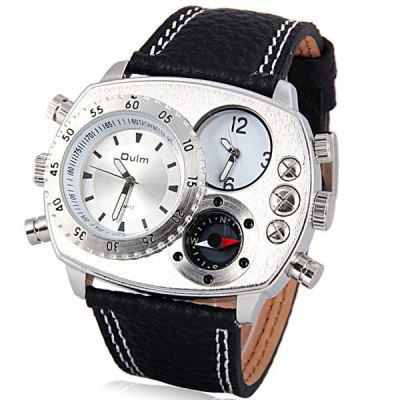 Oulm Stylish Men Watch Analog with Double - movt Elliptical Dial Genuine Leather Watch Band