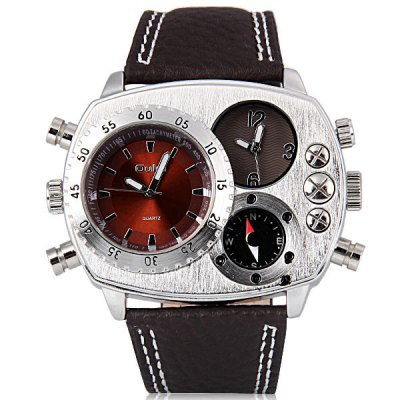 Гаджет   Oulm Stylish Men Watch Analog with Double - movt Elliptical Dial Genuine Leather Watch Band Men