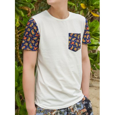 Гаджет   Casual Style Round Neck Applique Pocket Paisley Print Short Sleeves Cotton T-shirt For Men