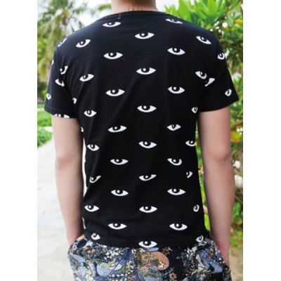 Casual Style Round Neck Color Block Eyes Print Short Sleeves Cotton T-shirt For Men