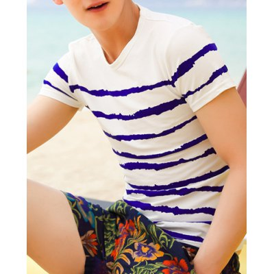 Гаджет   Casual Style Round Neck Color Block Stripes Design Short Sleeves Cotton T-shirt For Men