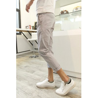 Гаджет   Fashion Style Slimming Solid Color Narrow Feet Polyester Nine Minutes Pants For Men Pants