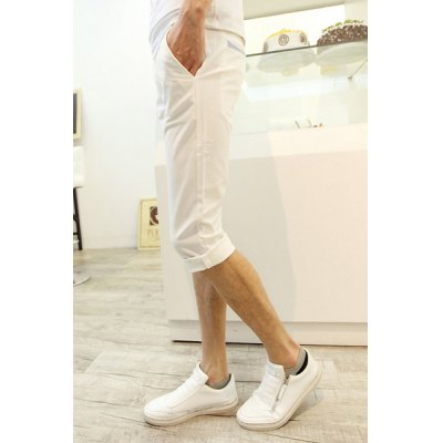 Гаджет   Casual Style Slimming Solid Color Narrow Feet Polyester Cropped Pants For Men Pants