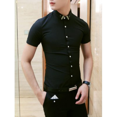 Гаджет   Casual Style Slimming Shirt Collar Solid Color Short Sleeves Men