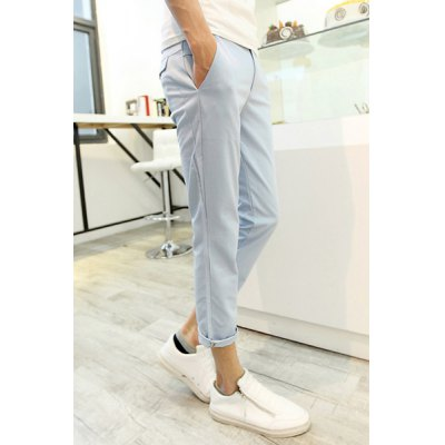 Гаджет   Fashionable Style Slimming Solid Color Narrow Feet Polyester Nine Minutes Pants For Men Pants