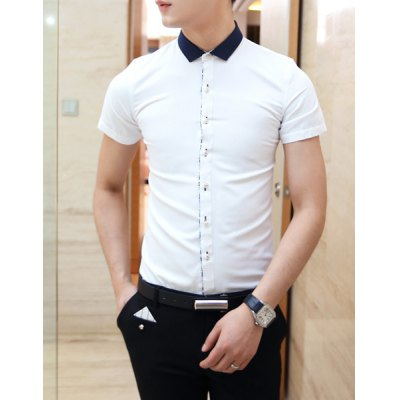 Гаджет   Casual Style Color Block Shirt Collar Chic Buttons Short Sleeves Men