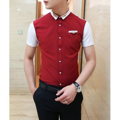 Гаджет   Casual Style Chic Shirt Collar Color Splicing Short Sleeves Men
