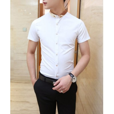 Гаджет   Casual Style Color Block Button Down Collar Horse Print Short Sleeves Men