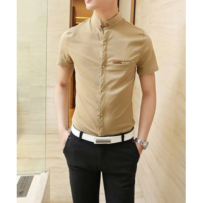 Casual Style Stand Collar PU Leather Embellished Short Sleeves Mens Polyester ShirtMens Shirts<br>Casual Style Stand Collar PU Leather Embellished Short Sleeves Mens Polyester Shirt<br><br>Shirts Type: Casual Shirts<br>Material: Polyester, Cotton<br>Sleeve Length: Short<br>Collar: Turn-down Collar<br>Weight: 0.5KG<br>Package Contents: 1 x Shirt