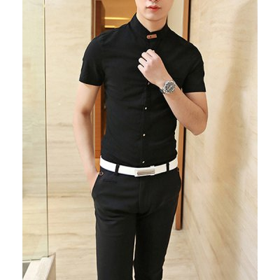 Гаджет   Casual Style Stand Collar PU Leather Embellished Short Sleeves Men