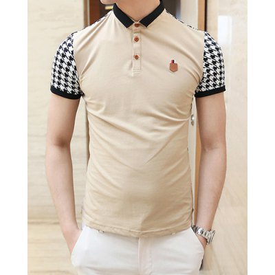 Summer Style Turn-down Colloar Checked Print Shorts Sleeves Cotton Polo Shirt For Men