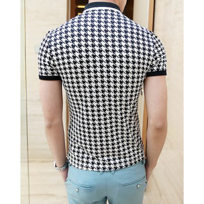 Гаджет   Summer Style Turn-down Colloar Checked Print Shorts Sleeves Cotton Polo Shirt For Men T-Shirts