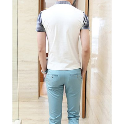 Гаджет   Casual Style Turn-down Colloar Striped Print Shorts Sleeves Cotton Polo Shirt For Men T-Shirts