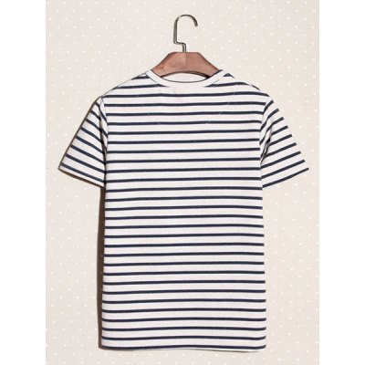 Гаджет   Casual Style Round Neck Full Striped Print Short Sleeves Cotton T-shirt For Men T-Shirts