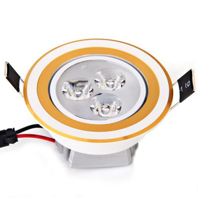 3W 360 Lumens 85 - 265V White Light Ceramic Heat Dissipation Golden Ceiling Lamp