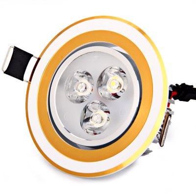 3W 360 Lumens 85-265V Warm White Light Ceramic Heat Dissipation Golden Ceiling Lamp