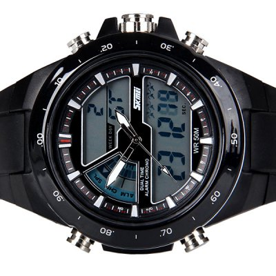 Гаджет   Trendy Style Skmei Blue LED Sports Watch for Unisex with Double Time Display and Plastic Watch Band Sports Watches