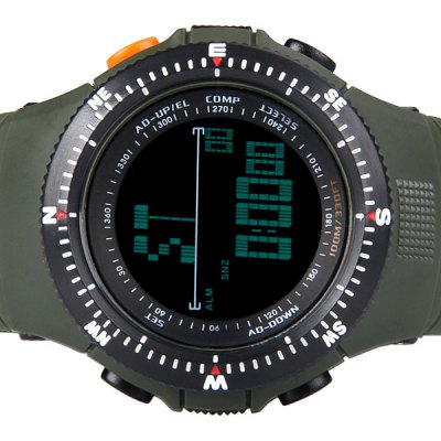 Trendy Style Skmei Green LED Sports Watch for Unisex with Digital Display and Rubber Watch Band