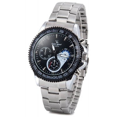 V6 Cool Men Quartz Wrist Watch with Analog Indicate Round Dial and Stainless Steel Watch Band