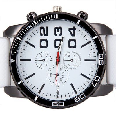 Womage Cool Men Quartz Wrist Watch with Analog Indicate Round Dial and Rubber Watch Band
