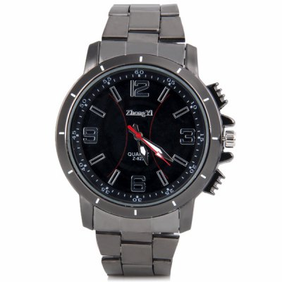 Popular Waterproof Men Quartz Watch with Analog Round Dial Stainless Steel Watchband