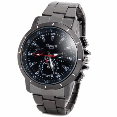 Stylish Waterproof Men's Quartz Watch with Analog Round Dial Stainless Steel Watchband