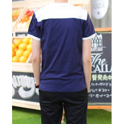 Гаджет   Stylish Round Neck Color Block Cuffs Short Sleeves Men