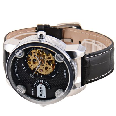 ФОТО Sports Design Cool Men Automatic Mechanical + Quartz Watch with Analog Round Dial PU Leather Watchband