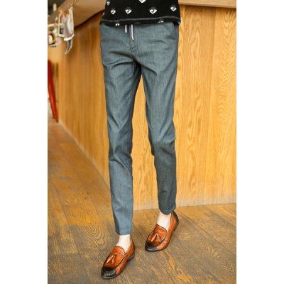 Гаджет   Slimming Trendy Solid Color Button Design Narrow Feet Linen Nine Minutes of Pants For Men Pants
