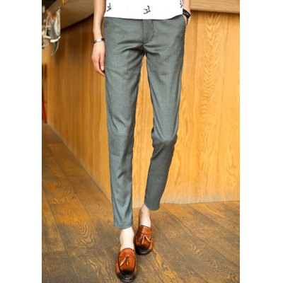Гаджет   Slimming Trendy Simple Solid Color Narrow Feet Cotton Nine Minutes of Pants For Men