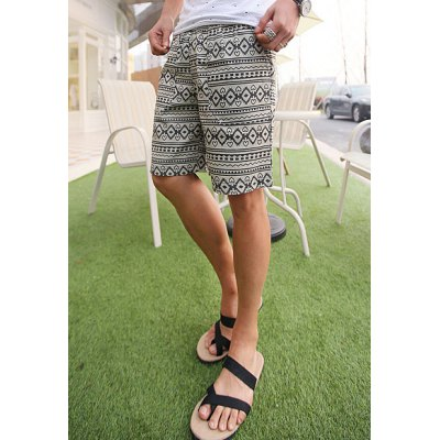 Гаджет   Slimming Trendy Lace-Up Hearts Geometric Print Straight Leg Polyester Shorts For Men Shorts