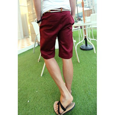 Гаджет   Slimming Trendy Large Pocket Solid Color Straight Leg Polyester Shorts For Men
