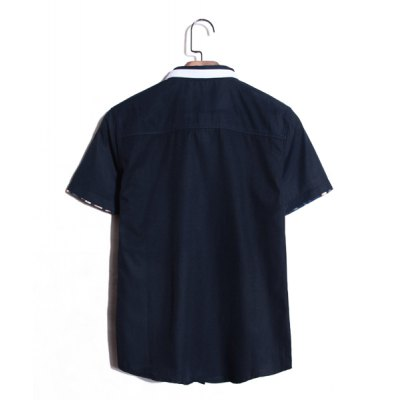 Гаджет   Korean Style Turn-down Collar Solid Color Purfled Short Sleeves Cotton Shirt For Men Shirts