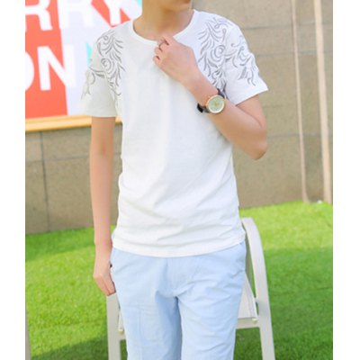 Гаджет   Stylish Round Neck Slimming Embroidered Short Sleeve Men