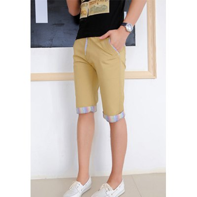Гаджет   Slimming Trendy Lace-Up Colorful Stripe Splicing Straight Leg Cotton Shorts For Men Shorts