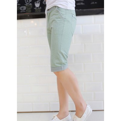 Гаджет   Slimming Trendy Colorful Dot Print Hit Color Stripe Splicing Straight Leg Cotton Shorts For Men Shorts