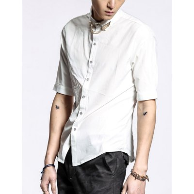 Гаджет   Summer Style Turn-down Collar Wing Embellished Half Sleeves Cotton Shirt For Men Shirts