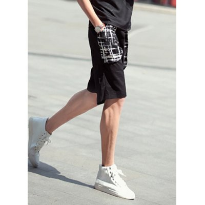 Гаджет   Loose Fit Trendy Lace-Up Checked Printed Pocket Straight Leg Polyester Shorts For Men Shorts