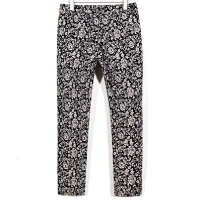 Гаджет   Slimming Trendy Hit Color Floral Print Narrow Feet Cotton Nine Minutes of Pants For Men Pants