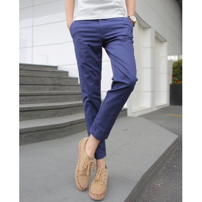 Гаджет   Slimming Trendy Button Design Solid Color Straight Leg Cotton Nine Minutes of Pants For Men Pants