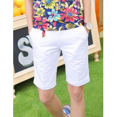 Гаджет   Slimming Trendy Solid Color Button Design Straight Leg Cotton Shorts For Men