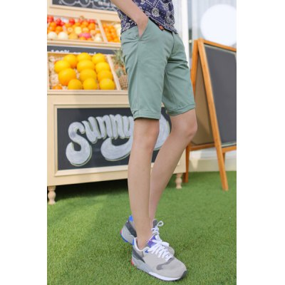 Гаджет   Slimming Trendy Solid Color Button Design Straight Leg Cotton Shorts For Men Shorts