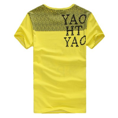 Гаджет   Stylish Round Neck Slimming Graffiti Letter Print Short Sleeve Men