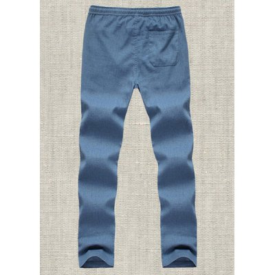 Гаджет   Slimming Trendy Lace-Up Solid Color Narrow Feet Cotton+Linen Pants For Men Pants